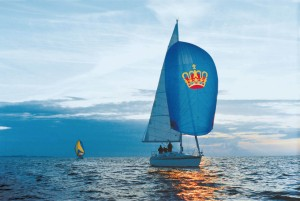 The 'golden crown in the blue sea' has been used as the flag of Fehmarn Island since 1580 and is still proudly displayed by the island's inhabitants, or (in this case) used as a sail.