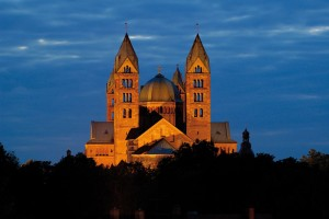 Speyer: evening at the Imperial Cathedral of St. Mary (Kaiser- und Mariendom)