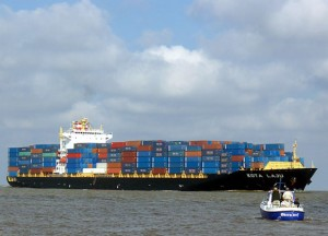 A container ship on the Elbe