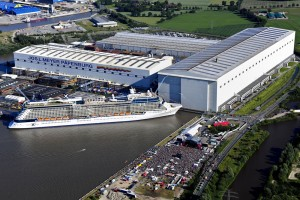 Papenburg: aerial view of the Meyer Werft shipyard