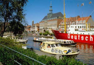 Emden, East Friesland: town hall and former lightship