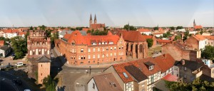 The Hanseatic city of Stendal from left: the Tangermünde Gate, St. Nicholas Cathedral, St. Catherine Abbey (Klosterkirche St. Katharinen) and to the right, St. Jacob's Church (Kirche St. Jacobi)