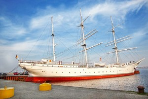 European brick Gothic Route - Gorch Fock Boat in Stralsund
