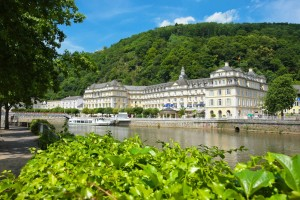 The baroque spa palace on the bank of the river Lahn