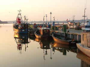 Evening scene with fishing boats, Thiessow harbour