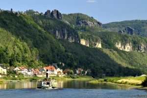 Saxon Switzerland National Park, River Elbe flowing through the Schrammsteine peaks