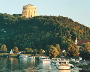 Pleasure boats on the Danube below the Hall of Liberation, Kelheim's most famous landmark