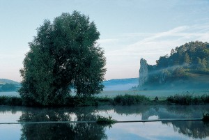 Burgstein rock near Dollnstein - Altmühl river at sunrise