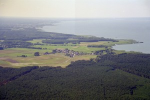 Bird's eye view of unspoilt lagoon coastline