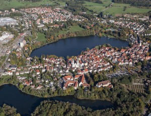 Bird's-eye view of Bad Waldsee, between two lakes