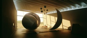 The Nebra Ark visitor centre, view of the permanent exhibition: huge sculptures replicating the Nebra sky disc