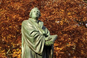 Worms, the Luther memorial in autumn