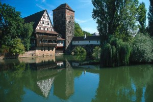 Nuremberg – the Weinstadel building and water tower on Hangman's Bridge