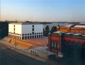 View of the Gallery of Contemporary Art, new and original buildings, with the Alster lake in the background