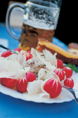 Bavaria, Typical Bavarian snack – white radish with beer