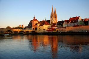 Regensburg, Stone Bridge over the Danube and cathedral