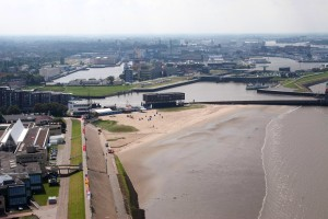 Bremerhaven, Weser beach in the city