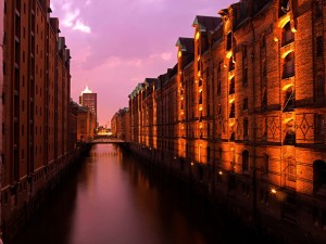 Hamburg, Speicherstadt warehouse district at dusk