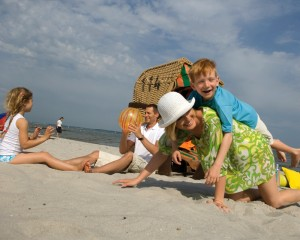 Schleswig-Holstein, family on the beach