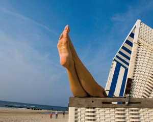 Sylt island, relaxing in a wicker beach chair