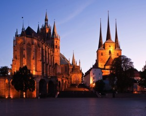 Erfurt, St. Mary's Cathedral and the Church of St. Severus at night