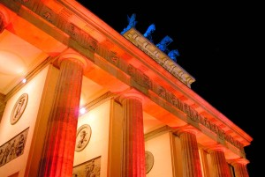 Berlin-Mitte: Brandenburg Gate during the Festival of Lights, at night