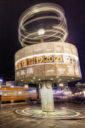 Berlin: Weltzeituhr (World Time Clock) at Alexanderplatz, evening