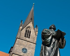 Erfurt, Merchants' Church and Luther statue