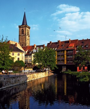 Erfurt, Merchants' Bridge and St. Giles Church
