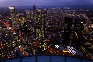 Frankfurt am Main, skyline, financial district and trade fair tower at night