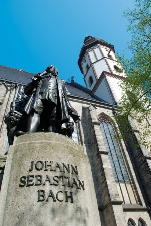 Leipzig, Bach memorial and St. Thomas' Church
