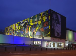 Ludwigshafen/Rhine: Wilhelm Hack Museum with the ceramic mosaic wall by Spanish artist Joan Miró, at dusk