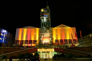 Mannheim: International Film Festival, Stadthaus venue hall illuminated in the festival colours