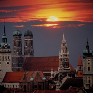 Munich, Towers of the city at twilight