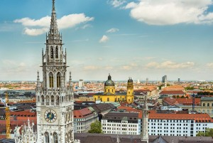 Munich: town hall tower, Theatinerkirche church