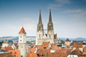 Rooftop view of Regensburg with cathedral