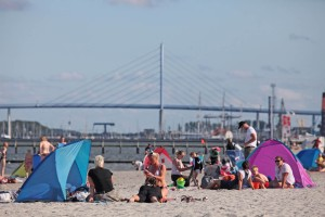 View from the beach to Rügen Bridge