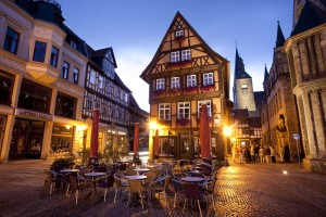 Evening scene on the market square in Quedlinburg